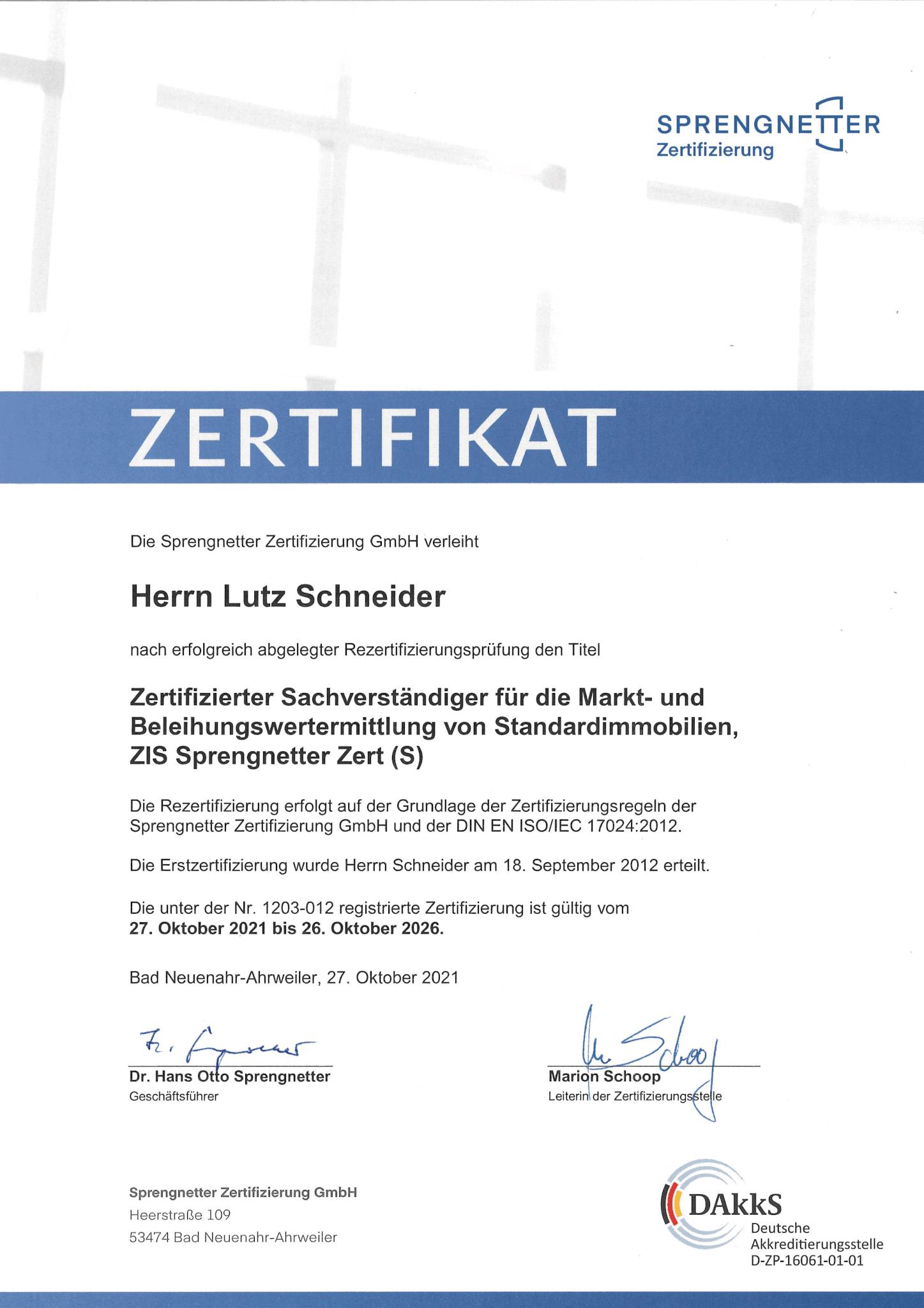 Erfolgreiche Rezertifizierung Lutz Schneider 1